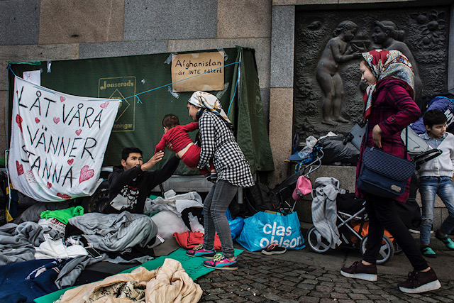 8/12-2017 Medborgarplatsen,Stockholm, Sweden. Demonstration unaccompanied for minors from Afghanistan.Refugees and their supporters have been holding a sit-down strike in Stockholm for over a month, protesting about the deportations to Afghanistan.Many refugees also slept under the open sky during the nights. Defiant, the youngsters insisted that violence and intimidation would not deter them from their goal of convincing Sweden to halt deportations to Afghanistan, which the youths say is still plagued by violence and insecurity.